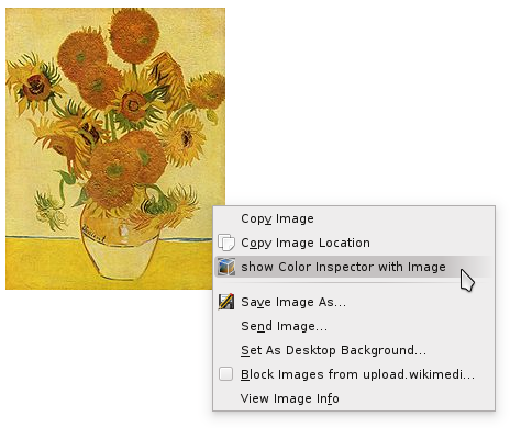 "The ""show Color Inspector with Image"" option in the context menu"