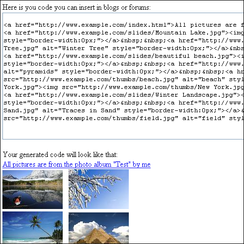 Screenshot of the code generated by the CodeGenerator