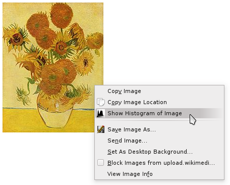 "The ""Show Histogram of Image"" option in the context menu"